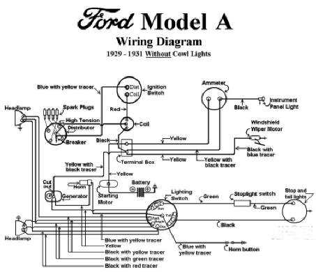 electrical model a garage, inc chrysler crossfire wiring diagram 1929 1931 ford model a wiring diagram (no cowl lights)
